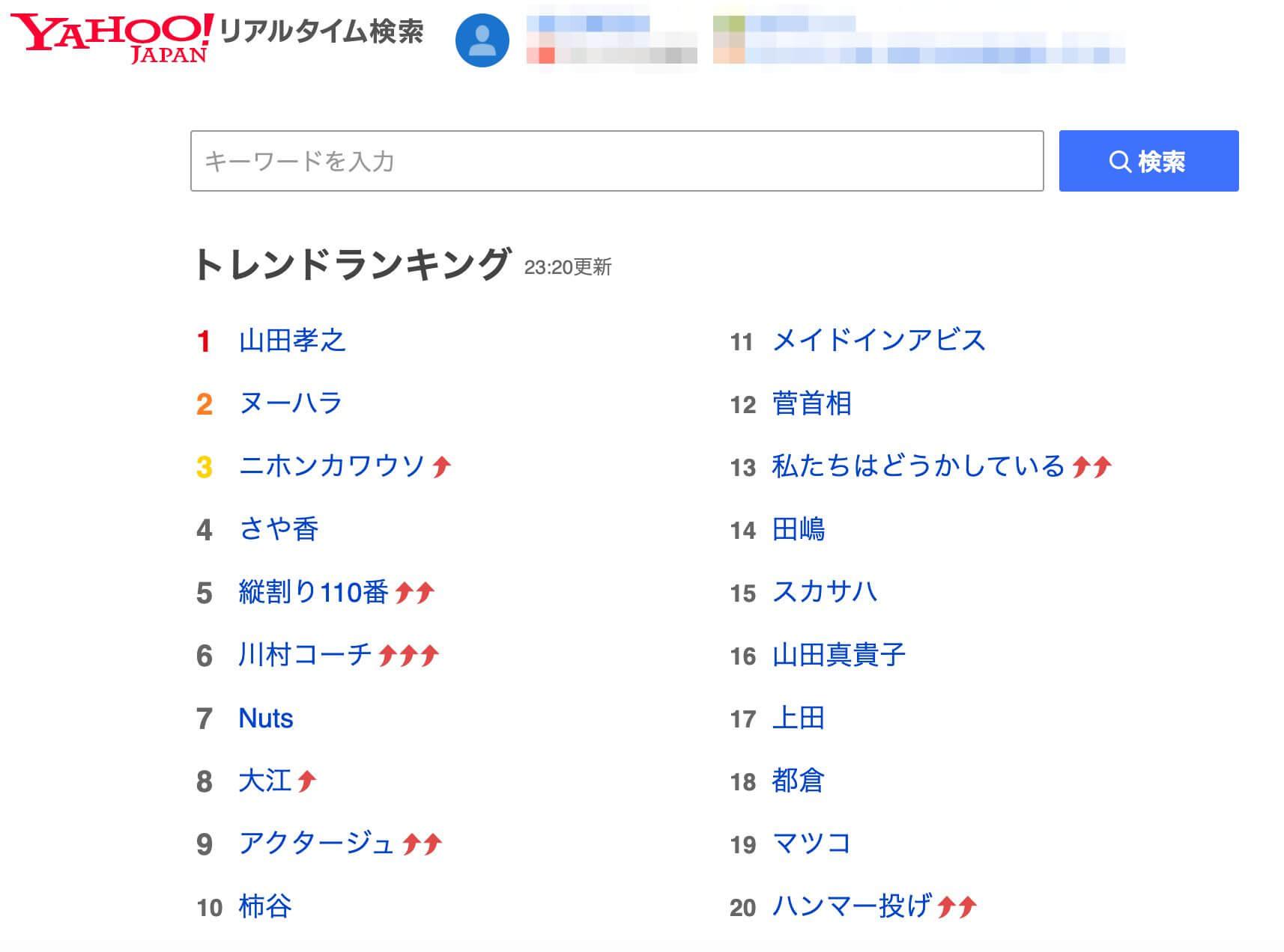 Yahoo!リアルタイム検索で検索
