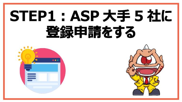 STEP1:アフィリエイトASP大手5社に登録申請をする